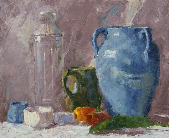 Blue Vase with Tulips