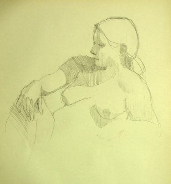 Nude seated, wrist on knee