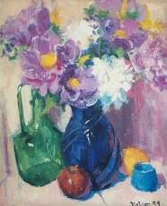 Peonies and Blue Glass