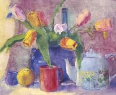 Still Life with Red Cup and Tulips