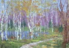 Birches Near a Pond